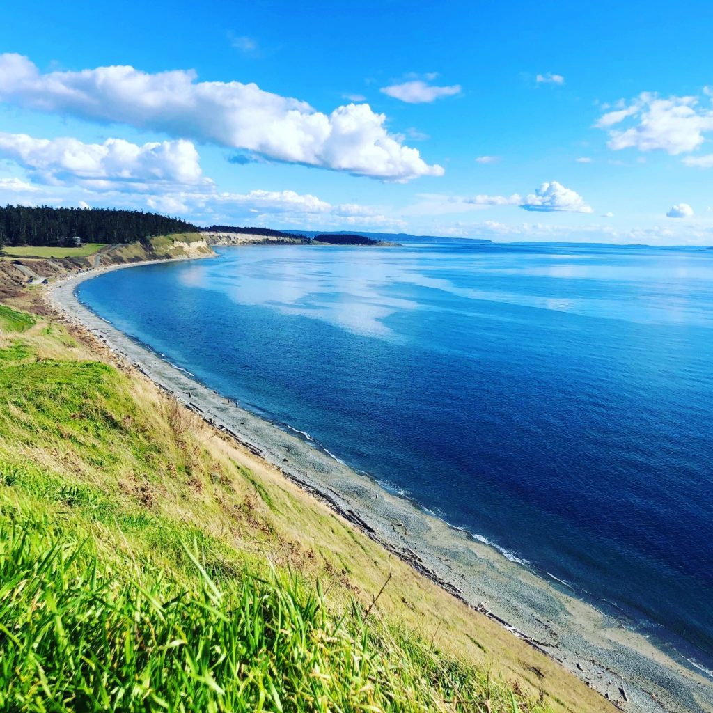 Ebey's landing, Windermere, Clouds, Blue Water, Bluff