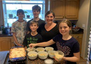 Windermom, Marissa Evans and Family cooking  dinner, Windermoms Quarantine Activities